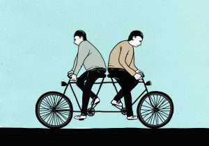 Illustration of male friends riding tandem bicycle in opposite dir